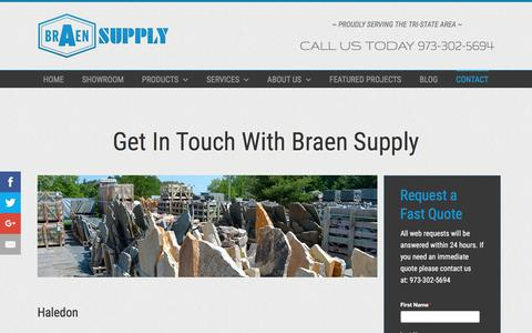 Screenshot of Contact Page braensupply.com - Masonry, Landscape, Hardware | NJ, NY | Braen Supply | Northern NJ, Bergen County, Passaic County - captured July 30, 2016