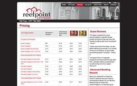 Screenshot of Pricing Page reefpointcottages.com - Pricing | Reef Point Cottages - captured Oct. 26, 2014
