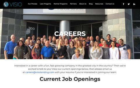Screenshot of Jobs Page visiolending.com - Careers | Visio Lending - captured Nov. 17, 2018