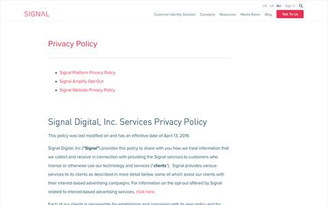 Screenshot of Privacy Page signal.co - Privacy Policy - Signal - captured June 29, 2017