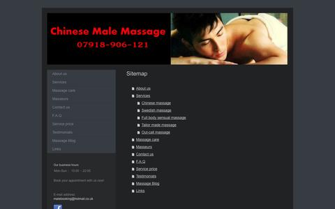 Screenshot of Site Map Page chinesemalemassage.co.uk - Gay male massage by Chinese masseurs in London - A touch of oriental - captured Oct. 2, 2014