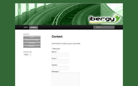Screenshot of Contact Page ibergy.com - Contacto   Ibergy - captured Aug. 5, 2016