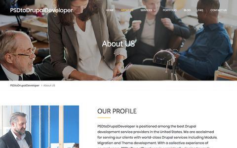 Screenshot of About Page psdtodrupaldeveloper.com - About Us: PSDtoDrupalDeveloper - captured July 17, 2018