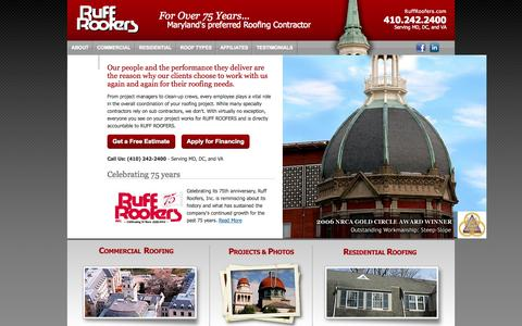 Screenshot of Home Page ruffroofers.com - Ruff Roofers is Maryland's Preferred Roofing Contractor in the Baltimore Annapolis area. - captured Oct. 9, 2014