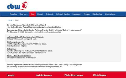 Screenshot of Jobs Page cbw-reifengrosshandel.de - » JobsCBW Reifengroßhandel - captured June 8, 2016