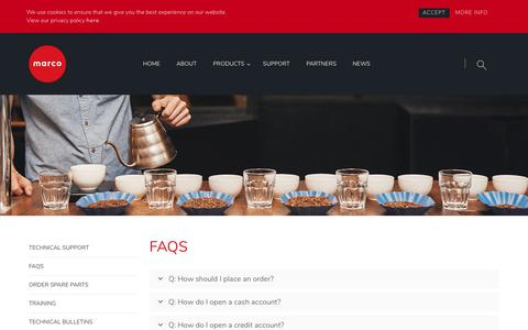 Screenshot of FAQ Page marcobeveragesystems.com - FAQs - Marco Beverage Systems Ltd. - captured Sept. 20, 2018