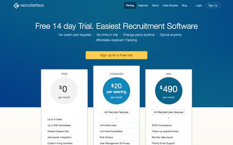 Screenshot of Pricing Page recruiterbox.com - Recruitment Software Pricing with Free Signup | Recruiterbox.com - captured Oct. 2, 2015