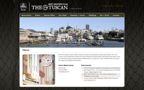 Screenshot of Press Page tuscanhotel.com - Hotel News & Media for Tuscan Hotel, a Fisherman's Wharf Hotel in San Francisco - captured Oct. 29, 2014