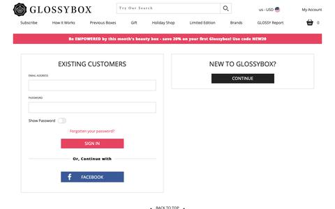 Screenshot of Login Page glossybox.com - Account Login    | GLOSSYBOX US - captured March 23, 2019