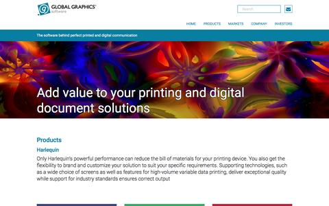 Screenshot of Products Page globalgraphics.com - Global Graphics Software - captured July 14, 2016