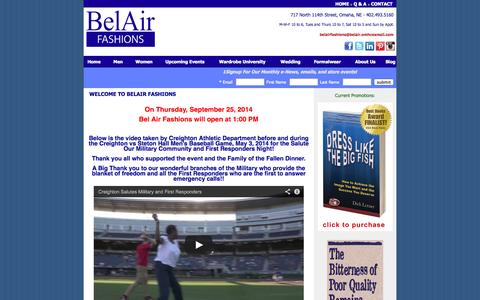 Screenshot of Home Page belairfashions.com - Belair Fashions - Omaha, NE:: Home - captured Sept. 30, 2014