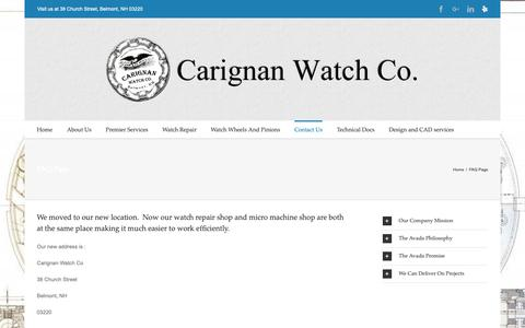 Screenshot of FAQ Page Support Page cwrnh.com - Frequently Asked Questions | Carignan Watch Company - captured Sept. 27, 2018