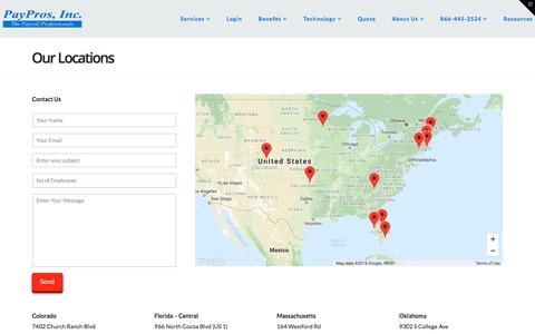 Screenshot of Locations Page payprosinc.com - Our Locations | PayPros, Inc. - captured July 16, 2018