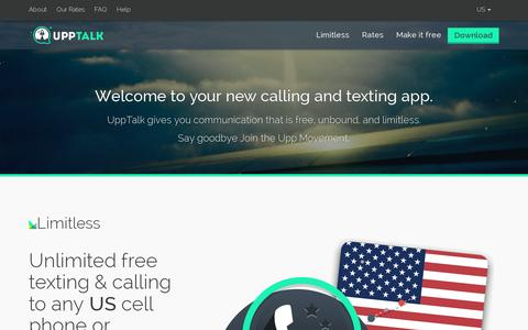 Screenshot of Home Page upptalk.com - Unlimited Free Calling & Texting | Upptalk - captured July 17, 2014