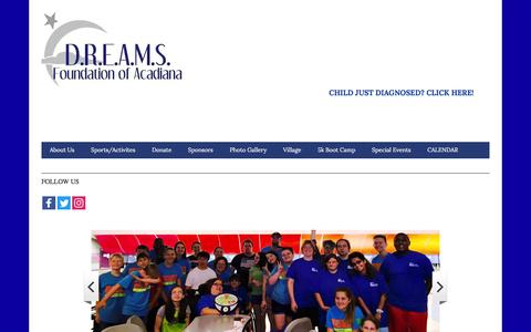 Screenshot of Home Page dreamsfoundationaca.org - Dreams Foundation of Acadiana - captured Nov. 23, 2016
