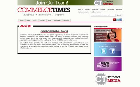 Screenshot of About Page ctmedia.ca - About Us » CT Media | Canada's University Student Magazine - captured Sept. 26, 2014