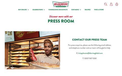Screenshot of Press Page krispykreme.co.uk - Krispy Kreme press room - public relations and media enquiries | Krispy Kreme - captured Dec. 20, 2018
