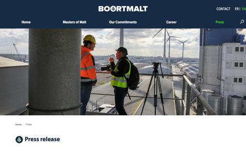 Screenshot of Press Page boortmalt.com - Press | Boortmalt - captured Nov. 1, 2019