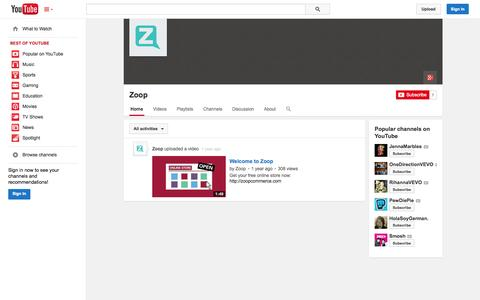 Screenshot of YouTube Page youtube.com - Zoop  - YouTube - captured Oct. 27, 2014