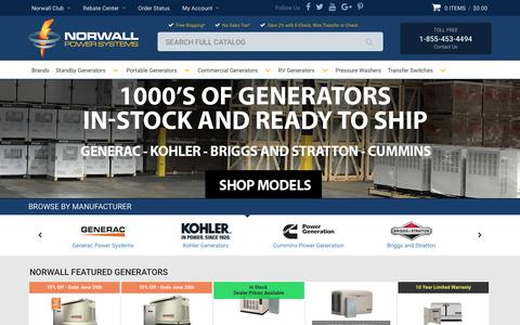 Screenshot of Home Page norwall.com - Standby Generators   Portable Generators   RV Generators   Electrical Generators - Norwall PowerSystems - captured June 22, 2017