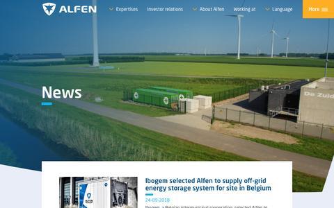 Screenshot of Press Page alfen.com - News - captured Sept. 26, 2018