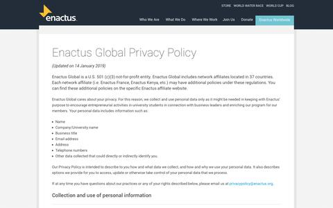 Screenshot of Privacy Page enactus.org - Enactus Global Privacy Policy | Enactus - captured March 5, 2019