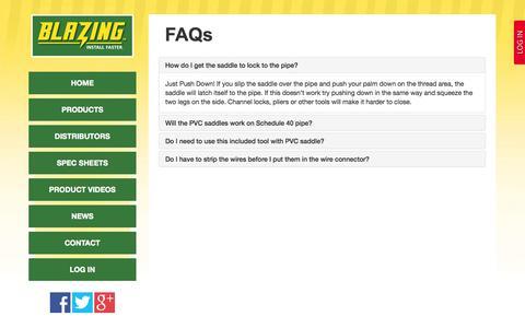 Screenshot of FAQ Page blazingproducts.com - FAQs - Blazing Products - captured Sept. 30, 2014