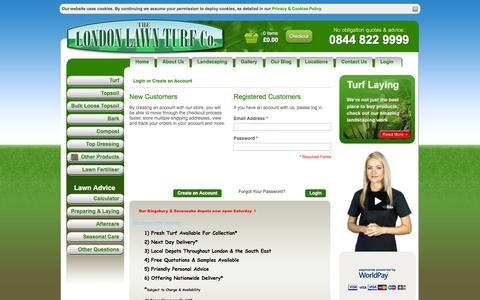 Screenshot of Login Page londonlawnturf.co.uk - London Lawn Turf -  Customer Login - captured Sept. 30, 2014