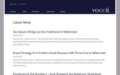 Screenshot of Press Page voccii.com - News - Voccii - captured July 5, 2017