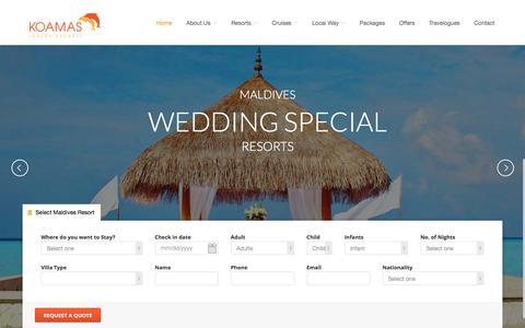 Screenshot of Home Page koamastravel.com - Maldives Resorts and Maldives Honeymoon Resorts by Koamas Luxury Escapes - captured Feb. 12, 2016
