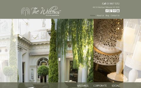Screenshot of Home Page thewillows.com.au - Weddings, Corporate and Social Events Melbourne | The Willows - captured Oct. 7, 2014