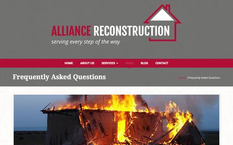 Screenshot of FAQ Page alliancereconstruction.com - Frequently Asked Questions | Alliance Reconstruction - captured Oct. 27, 2014