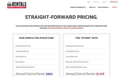 Screenshot of Pricing Page bmgrent.com - Pricing – BMG Rentals Property Management - captured Nov. 22, 2016