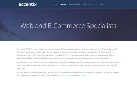 Screenshot of About Page accentix.com - Web and E-Commerce Design Specialists   Accentix Web Design - captured July 24, 2016