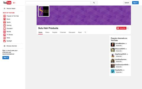 Screenshot of YouTube Page youtube.com - Sulu Hair Products  - YouTube - captured Nov. 4, 2014