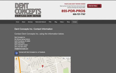 Screenshot of Contact Page Maps & Directions Page dentconcepts.com - Dent Concepts Inc. Contact Information | Dent ConceptsDent Concepts - captured Oct. 25, 2014