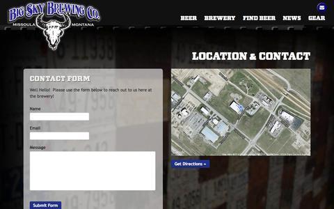 Screenshot of Contact Page bigskybrew.com - Location & Contact - Big Sky Brewing - captured Oct. 5, 2014