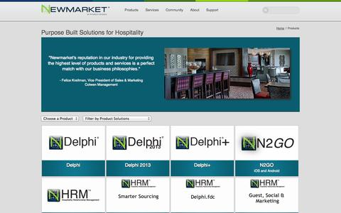Screenshot of Products Page newmarketinc.com - Products - captured Sept. 16, 2014