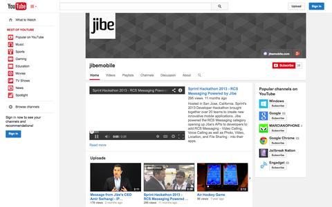 Screenshot of YouTube Page youtube.com - jibemobile  - YouTube - captured Oct. 22, 2014