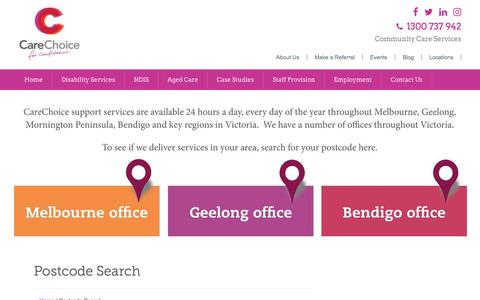 Screenshot of Locations Page carechoice.net.au - Disability Support Service locations - captured July 16, 2018