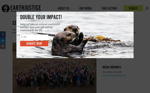 Screenshot of Contact Page earthjustice.org - Contact Us | Earthjustice - captured Dec. 23, 2018