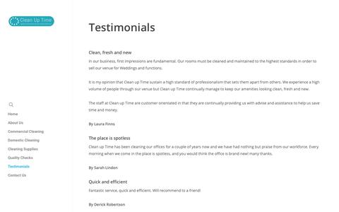 Screenshot of Testimonials Page officecleanerswakefield.co.uk - Testimonials - Clean Up Time - captured Dec. 14, 2018