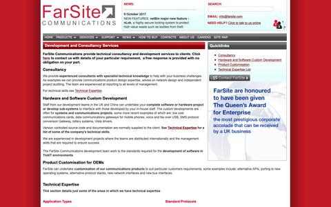 Screenshot of Services Page farsite.com - FarSite - Custom hardware and software development and consultancy services for communications systems - captured Dec. 19, 2018