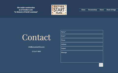 Screenshot of Contact Page picturestartfilms.com - Contact | Picture Start Films - captured Nov. 10, 2018