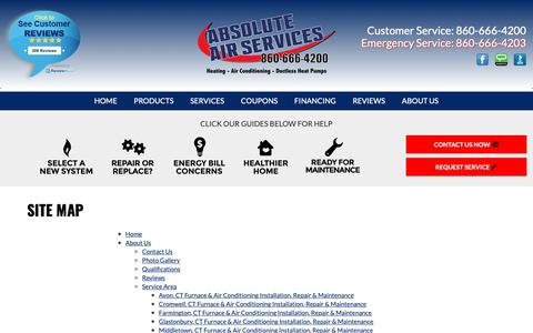 Screenshot of Site Map Page absoluteairservices.com - Absolute Air Services, LLC, Sitemap - Middletown, CT - captured Oct. 2, 2018