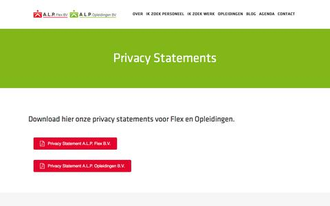 Screenshot of Privacy Page alpflex.nl - Privacy Statements - A.L.P. - captured July 10, 2018