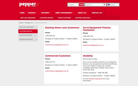 Screenshot of Support Page peppergroup.com.au - Home - Customer Service - captured Nov. 1, 2014