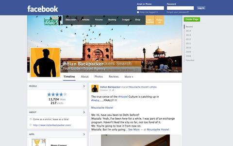 Screenshot of Facebook Page facebook.com - Indian Backpacker - New Delhi, India - Tour Guide, Travel Agency | Facebook - captured Oct. 26, 2014