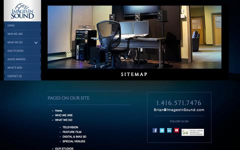 Screenshot of Site Map Page imagesinsound.com - Images In Sound | Audio post production company | Toronto, Ontario, Canada - captured Sept. 30, 2014