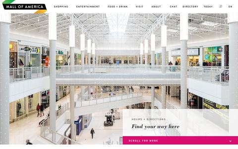 Screenshot of Maps & Directions Page Hours Page mallofamerica.com - Plan Your Trip > Hours + Directions | Mall of America - captured July 27, 2018